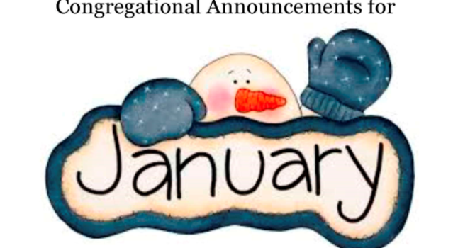 Congregational Announcements - January 2017 image