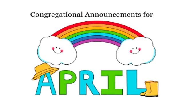 Congregational Announcements - April 2017 image