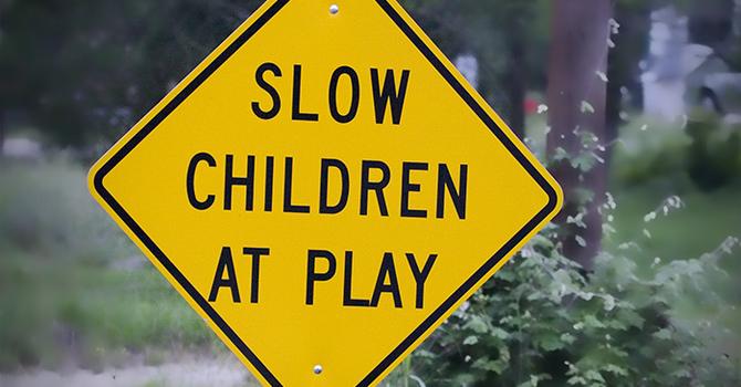 Slow! Children playing. image