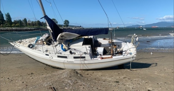 Sailboat washes up on Vancouver's Sunset Beach image