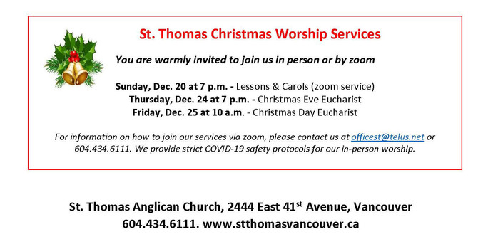 St Thomas, Vancouver Christmas Worship Schedule image