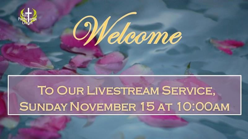Sunday November 15 Livestream Service
