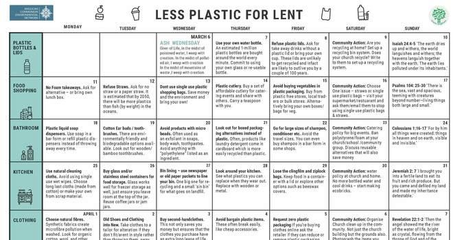 Less Plastics for Lent Calendar image