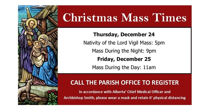 Pre-Registration for Christmas Masses opens Dec 1st