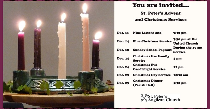Advent and Christmas Services at St. Peters image