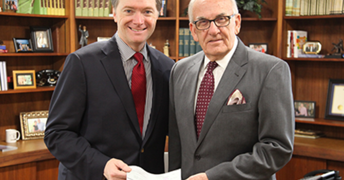 Clements Presents Check to Church of God for Relief Efforts image