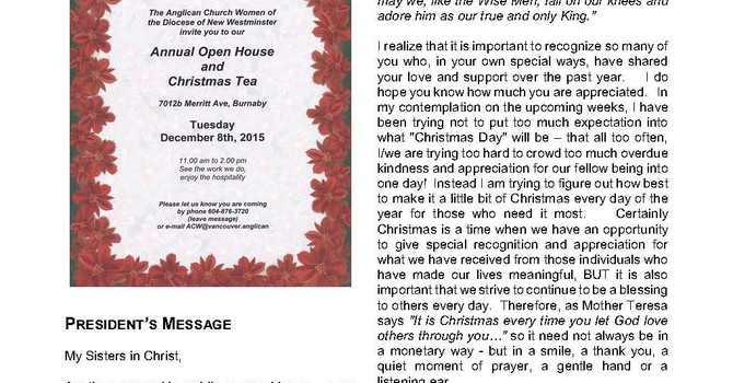 Anglican Church Women's Newsletter December 2015 image