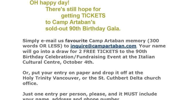 Camp Artaban Gala Ticket Contest image