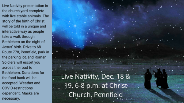 Live Nativity this weekend
