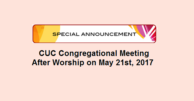 CUC Congregational Meeting after Worship on May 21st, 2017 image