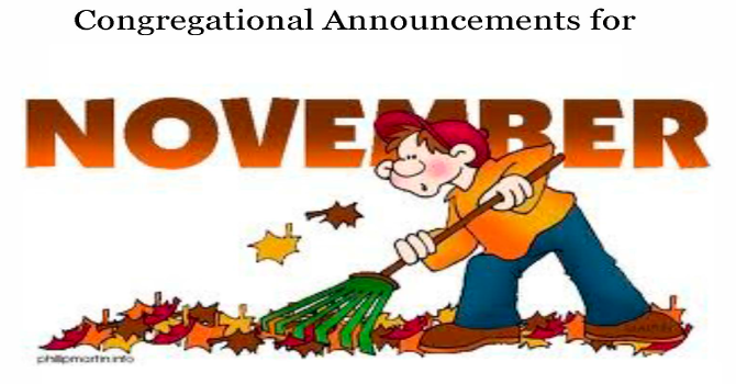 Congregational Announcements - November 2016 image