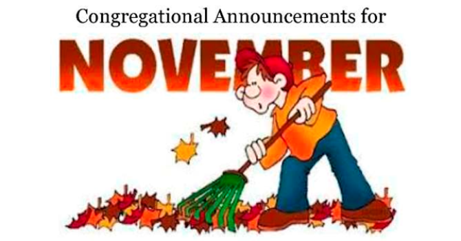 Congregational Announcements - November 2017 image
