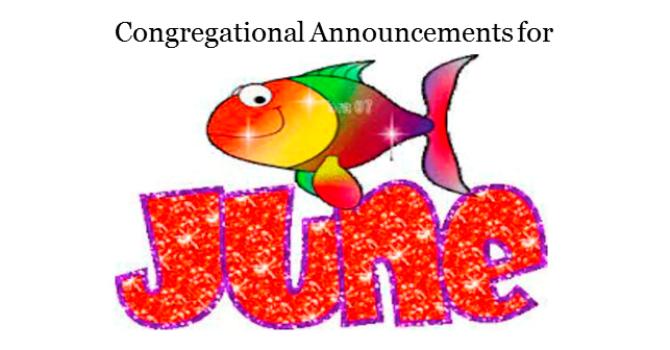 Congregational Announcements - June 2017 image