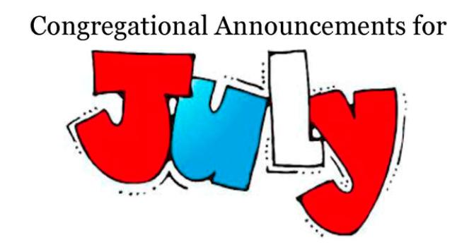 Congregational Announcements - July 2017 image