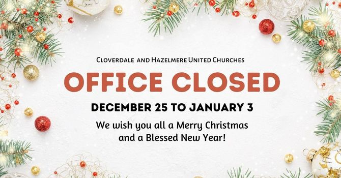 Office closed for Christmas Holidays