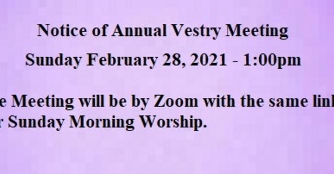 Annual Vestry Meeting 2021
