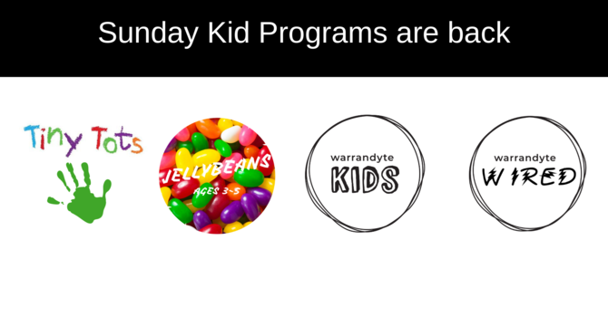 Sunday Childrens' Programs are Starting Back! image