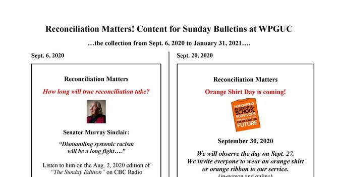 Reconciliation Matters - Bulletin inserts Fall 2020