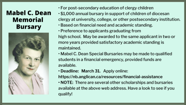 Mabel C. Dean bursary available