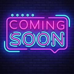 Coming soon neon sign coming soon badge in vector 21133321