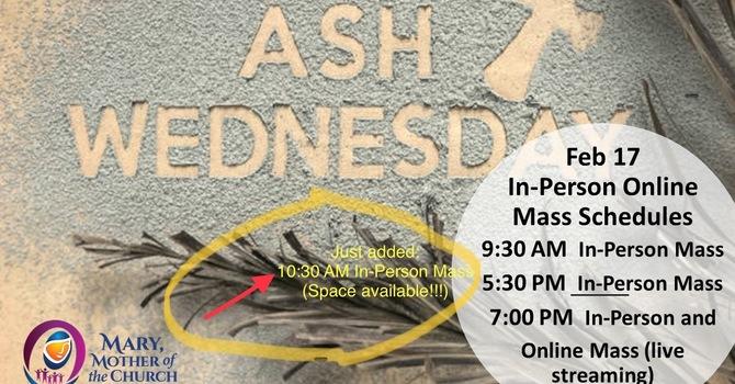 Ash Wednesday Masses image