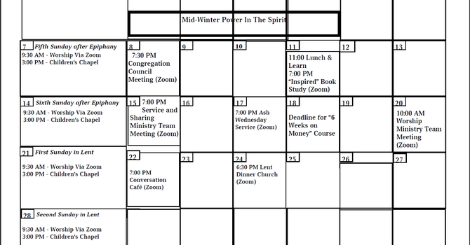 Apostles Calendar - Feb. 2021 image