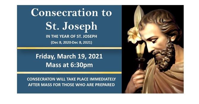 St Joseph Feast Day Mass & Consecration Mar 19.