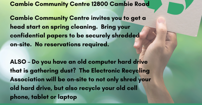 Cambie Community Centre - Shred-a-thon image