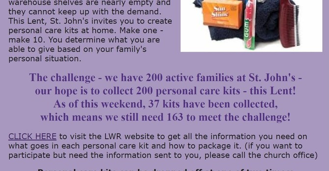 Lenten At Home Service Project image