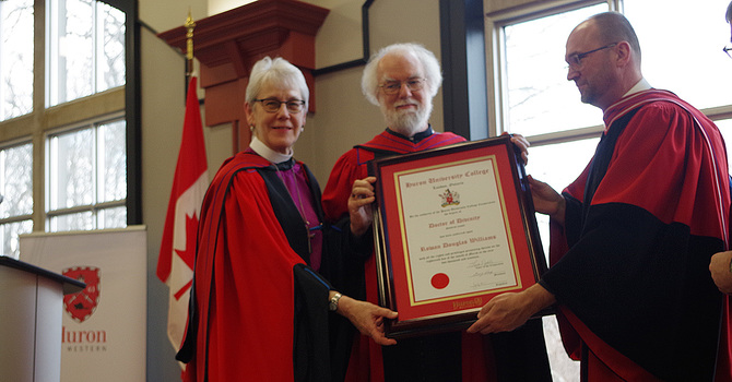 Rowan Williams receives honorary doctorate from Huron University