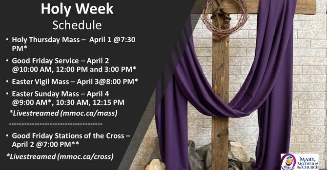 Holy Week Schedule (April 1- 4, 2021) image