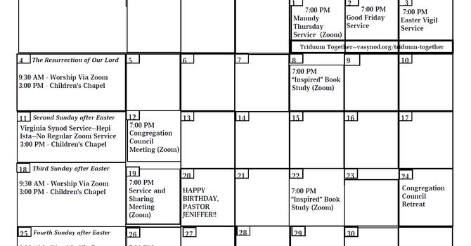 Apostles Calendar - Apr. 2021 image
