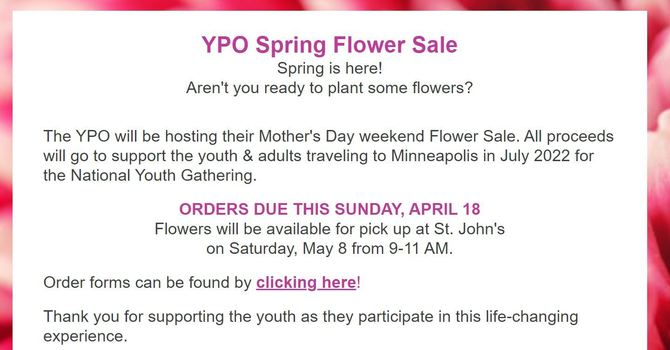 Spring Flower Orders Due! image