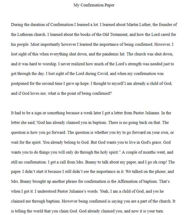 BRAYLYNN KELLY'S CONFIRMATION FAITH STATEMENT