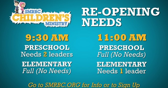 Children's Ministry Reopening Servant Needs image