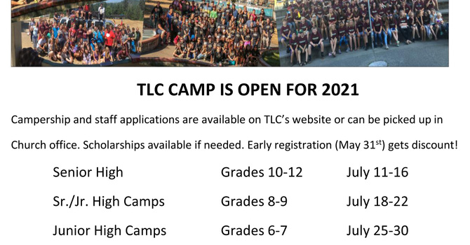 TLC CAMP SCHEDULE