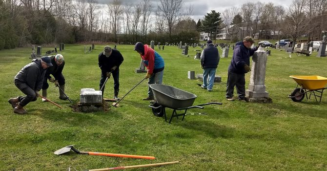 Cemetery Headstone Straightening